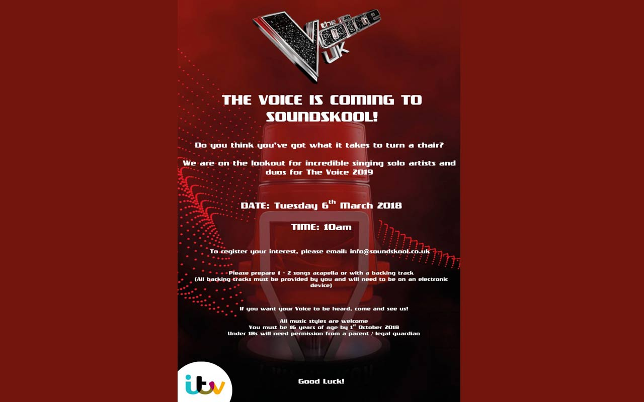 ITV's The Voice To Audition At SoundSkool